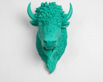 White Faux Taxidermy - The Mia - Turquoise Resin Bison Head- Buffalo Resin White Faux Taxidermy- Chic & Trendy