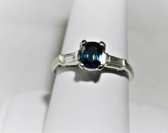 Platinum Montana Sapphire Diamond ring 1.04 carat