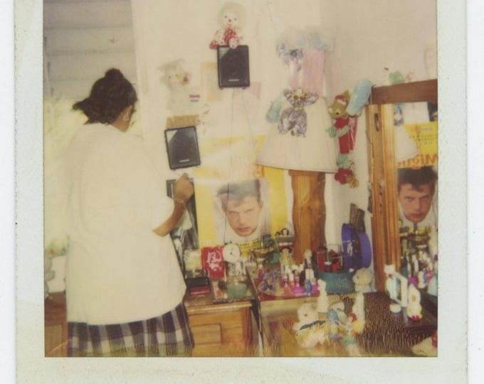Vintage SX-70 Polaroid Snapshot Photo: Teenager Bedroom (711621)