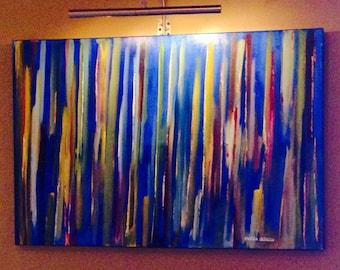 "ORiGiNAL 36 x 24 Landscape ABSTRACT""  -""Underwater Rainbow""  original Acrylic Paint on canvas   -   36"" X 24""   (# 17-7250)"