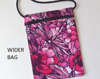 """Pouch Zip Bag DRAGONFLY Fabric.  Great for walkers, markets, travel.  Cell Phone Pouch. Evening Purse Stained Glass effect  WIDER 6.75"""" x 5"""""""