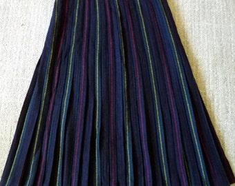Vintage Wool Pleated Maxi Striped Skirt Medium