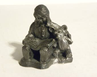 Vintage Girl Reading to Teddy Bear Pewter Figure 1991 Michael Ricker Numbered Noel Christmas Gift of Love Collection
