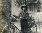 Boy scout with bicycle and dog, Vintage postcard c1910s