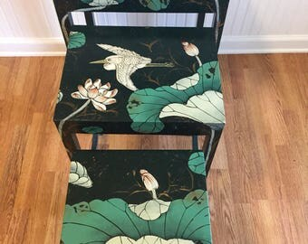 ASIAN NESTING TABLES, Teal, Turquoise, Birds, Flowers, 1980's, 3 Tables, Asian Decor, Regency, Tiny Home at Ageless Alchemy