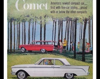Vintage Ford Comet Sedan & Station Wagon 1960.  Illustrated Ad Family Picnic and Sissy Flirting.  Is brother texting?  13 x 10.  Ready Frame