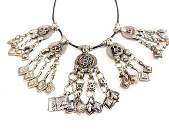 Stunning Vintage Coin and Glass Bead Necklace from Afghanistan