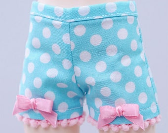 BJD Shorts - Slim MSD Minifee or Unoa- Aqua with White Dots