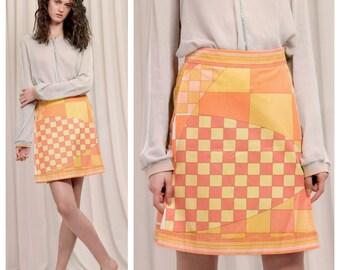 melon sorbet vintage 50s/60s EMILIO PUCCI cotton geometric signature print skirt