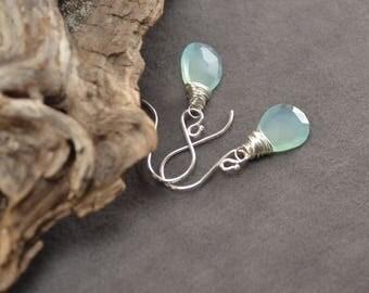 Chalcedony Earrings, Blue Chalcedony, Silver Earrings, Sterling Silver Earrings, Blue Dangles,Silver Dangles, Elegant Blue Earrings