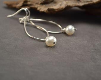 Pearl Earrings, Pearl Jewelry, Pearl Dangles, Freshwater Pearls, White Pearl Earrings, Silver Earrings, Small Pearl Drops, June Birthstone