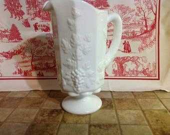 Vintage Westmoreland Milk Glass Paneled Grape Water Pitcher