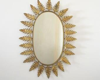 Very Large Spanish Mid Century SUNBURST Metallic Mirror - Oak Leaf Rays -  The Ultimate Design Statement - Vintage Decor
