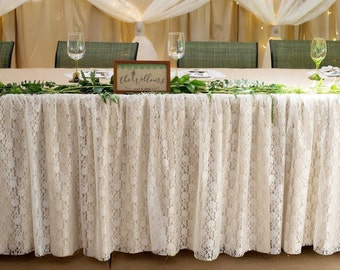 rectangular fitted tablecloth made from burlap and ivory lace
