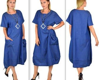 Elegant Lagenlook Dress, Denim Dress, Plus size dress, Quirky Dress, Loose Casual Dress, Short Slleve dress