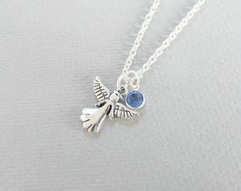 Angel Birthstone Necklace, Guardian Angel Necklace, Christening Gift, Communion Gift, Sterling Silver, Baby Loss, Memorial Keepsake