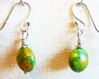 Green Turquoise Wire wrapped earrings