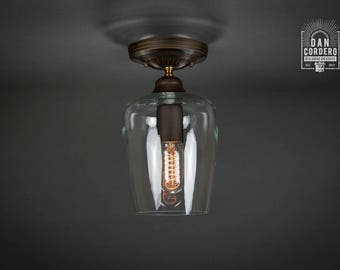 Flush Ceiling Mount | Edison Bulb Light Fixture | Oil Rubbed Bronze | Semi Flush | Small Teardrop Shade