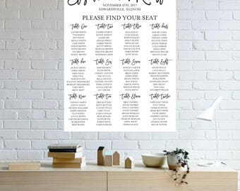 Modern Wedding Seating Chart | Digital Design | Seating Chart | Custom Colors | Vertical Seating Chart | Seating Assignment | Table Numbers