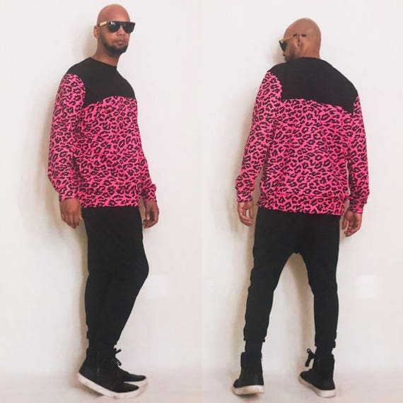 This a very cool Pink Leopard/Cheetah Printed Sweatshirt With Mesh Upper Inspired by Y3 Jeremy scott