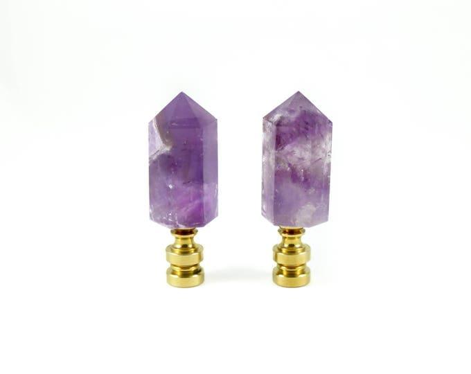 Amethyst Crystal Finials--Purple Crystal Finials--Amethyst Crystal Finials--Finials for Lamps