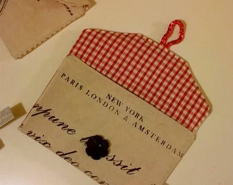 French & Latin Script Red Gingham Lined Fabric Purse / Pouch / Coin Purse / Bag / Pocket Purse