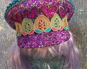 Purple holographic full bling military captains hat with gorgeous braid trim. - Fairylove