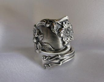 Wild Rose Sterling Spoon Ring Art Nouveau Rare Pattern Big and Bold Thumb Ring