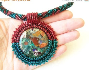 40% SALE Bead Embroidery Pendant Necklace - Yin and Yang - Pyrite multi color Picasso Jasper with Fluorite - red, emerald