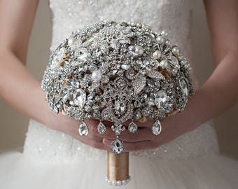 brooch wedding bouquets for sale ready to ship brooch bouquet teal white and silver 2085