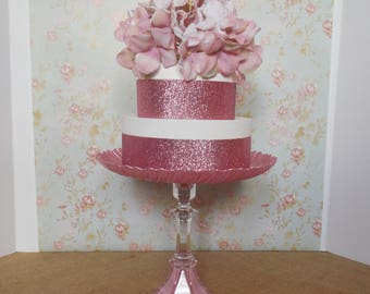 "10"" Pink Cake Stand / Wedding Cake Stand / Glass Cake Stand / Pink Cake Pedestal / Pink Cupcake Stand / Pink Dessert Stand / Baby Shower"