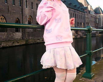 pink pastel goth oversize cute and comfy winter sweater -  funny kawaii larme sweatshirt 3 eyed alien cat fairy kei jumper