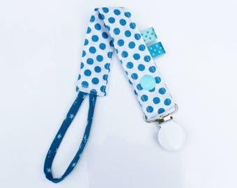 Pacifier clip / pacifier - teal, white polka dot pattern fabric