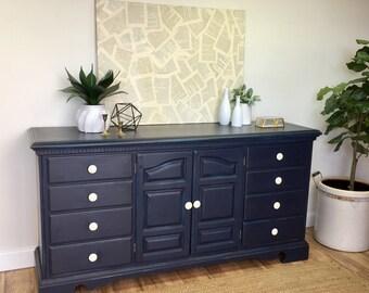 Mid Century Modern Lowboy Dresser Painted Furniture Teal - Navy blue dresser bedroom furniture