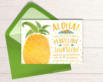 Pineapple Invitation - Printable Luau Invite - Aloha Girls Birthday - Hula Birthday Party - Tropical Leaf Invitation - Party Package - BP36