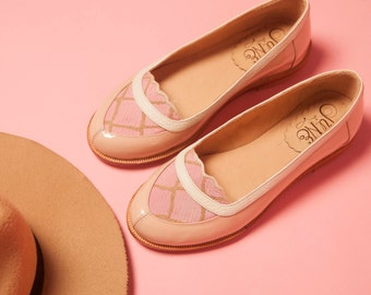 Mocasín Pink - Unique leather pink patent and fabric flat shoes moccasin - Handmade - Free shipping