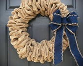 Burlap Wreath, Natural Burlap Wreaths, Gift for Her, Housewarming Gifts, Burlap Decor, Gift Ideas for Her, County Decor, Fun Gifts