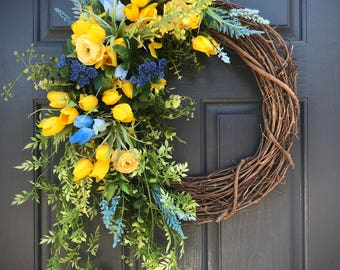 Blue Yellow Spring Wreath, Spring Wreaths, Spring Door Wreaths, Yellow Blue Wreath, Tulip Wreaths, Door Decor Spring, Gift for Her, Wreaths