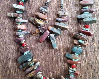 Jasper Necklace, Long Necklace, Layering Necklace, Beaded Necklace, Leather Necklace, Bohemian Jewelry, Tribal Jewelry