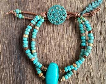 Turquoise Bracelet, Wrap Bracelet, Leather Bracelet, Multiple Strand Bracelet, Chunky Bracelet, Bohemian Jewelry, Boho Jewelry, Southwest