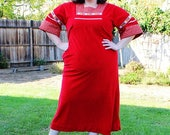 CLEARANCE - FINAL SALE - Plus Size - Vintage Red Velvet Peasant Style Maxi Dress (Size 12/14)