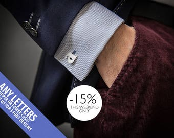 Initials Cufflinks Personalized - Wedding Cufflinks monogrammed in Sterling Silver - Letter cufflinks - Men's Cufflinks