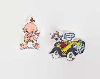 Vintage 80s Roger Rabbit Pins / 1980s Baby Herman Pinback Set