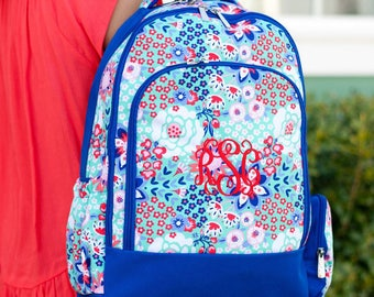 Garden Party Backpack - May be Monogrammed or Personalized with Embroidered Name - Back to School Book Bag Royal Blue