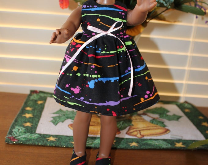 Ready to Party Multi Color Print Dress,Ribbon, Shoes made to fit the likes of Wellie Wisher and other 14.5 inch dolls, FREE SHIPPING