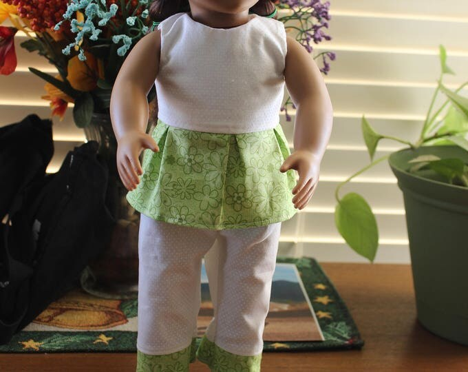 Handmade for the dolls like American Girl and other 18 inch dolls.ST Patty's Day, Green Print Top White Pants and Shoes. FREE SHIPPING