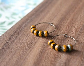 mustard czech glass hoop earrings