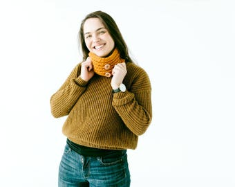 Knit Mustard Buttoned Cowl Scarf