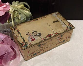Vintage c 1930s Walgreens Lady Charlotte Chocolates Tin Box, Antique Tin Box, 1700s Courtship Couple, Candy Confection Tin