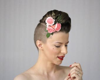 """Roses For Hair, Pink Rose Fascinator, Flower Clip for Women, 1930s Hair Accessory, 1940s Floral Headpiece - """"Paris in the Springtime"""""""